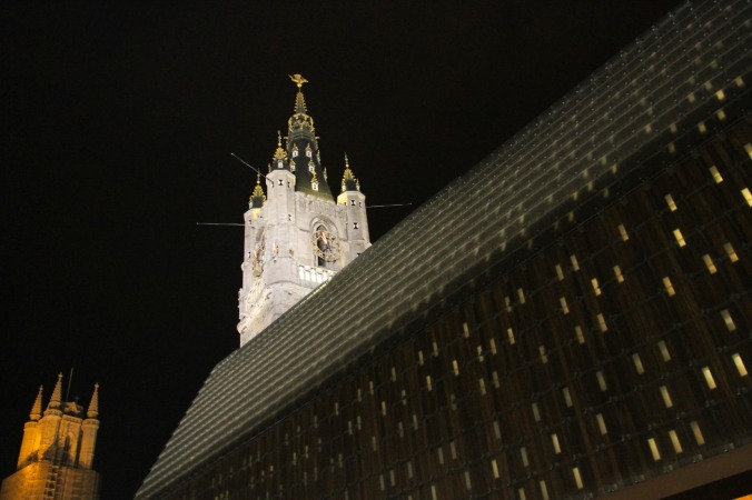 Ghent Market Hall and Belfy at night, Belgium