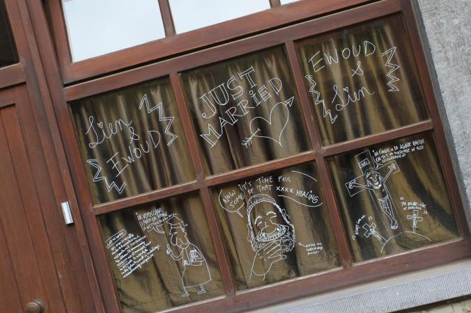 'Graffeti' on the house windows of newlyweds, Ghent, Belgium