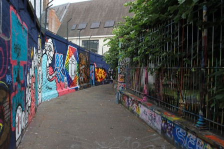 Street art on Werregarenstraat in Ghent, Belgium