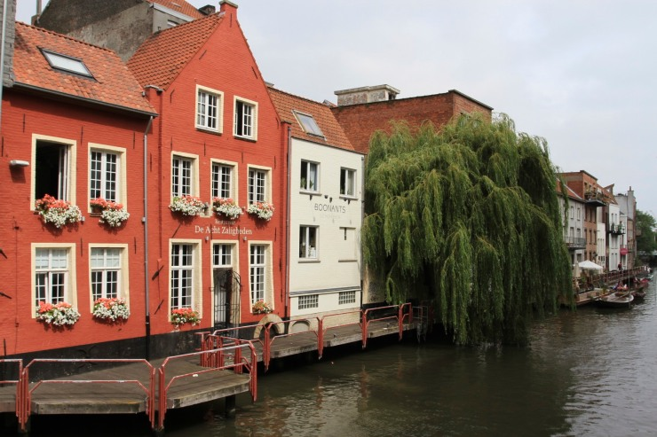 Houses on a canal, Ghent, Belgium