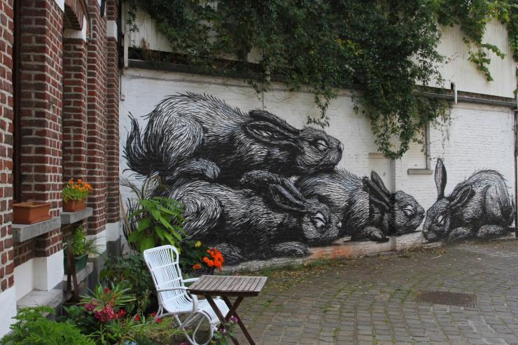 ROA street art in Ghent, Belgium