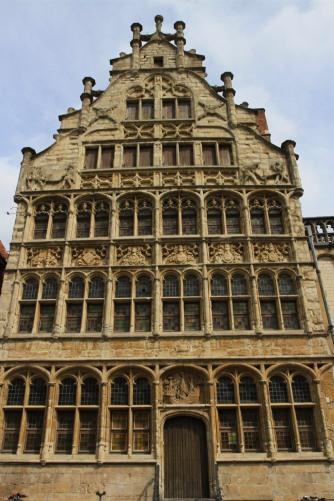 Medieval buildings on the Graslei harbour, Ghent, Belgium