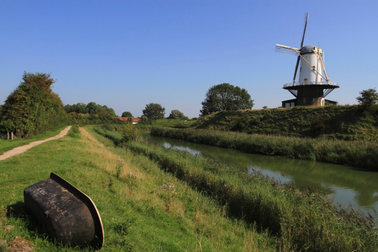 Windmill on the old fortifications of Veere, Zeeland, Netherlands