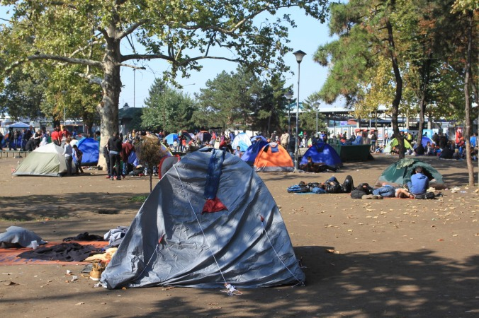 Refugee transit camp, Belgrade, Serbia