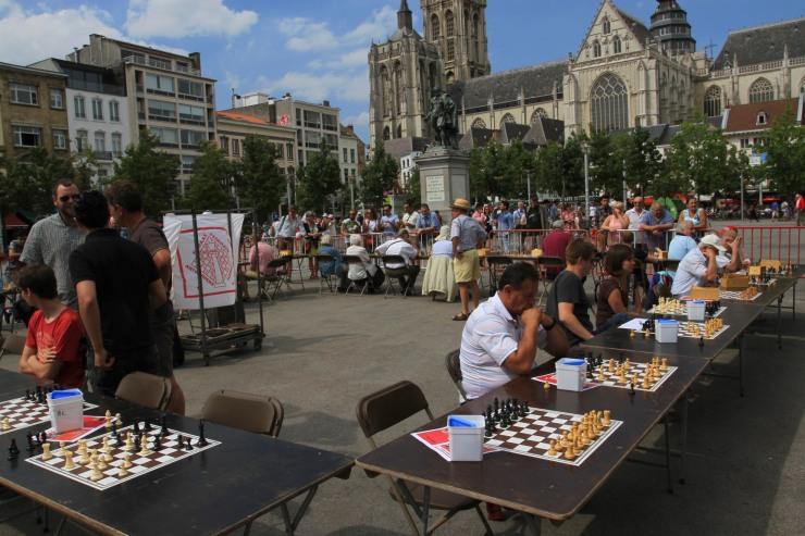 Chess in Groenplaats, Antwerp, Belgium