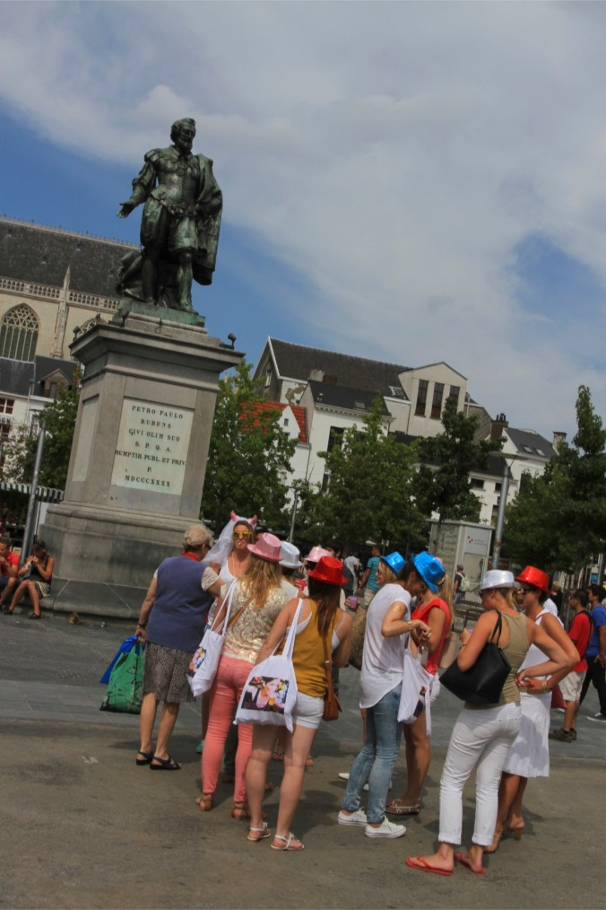 Hen party in Groenplaats, Antwerp, Belgium