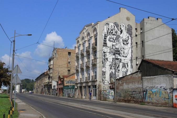 La Santa de Beograd, street art, Savamala, Belgrade, Serbia