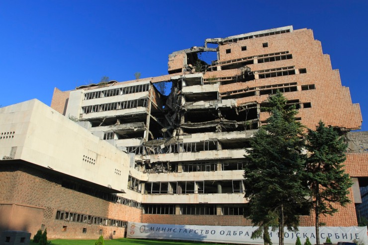 Bombed Federal Ministry of Defence buildings, Belgrade, Serbia