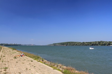 Sunbathing on the Danube in Belgrade, Serbia
