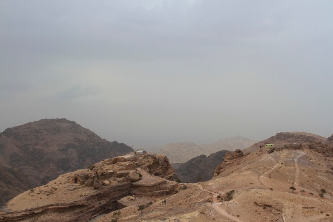 A storm approaches the Monastery or El Deir, Petra, Jordan