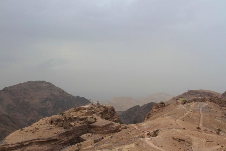 A storm approaches the Monastery or El Deir, Petra, Jordan