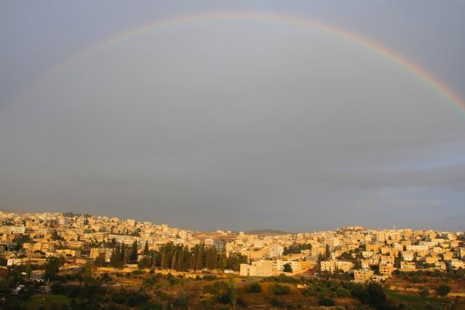 Rainbow over modern Jerash, Jordan