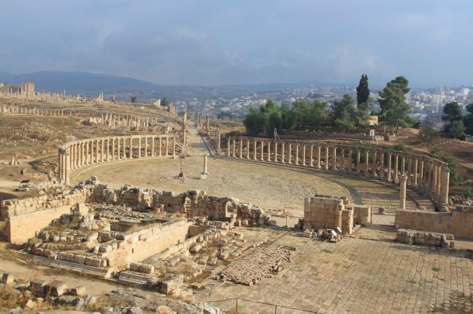 View over the Forum and Cardo Maximus, Jerash, Jordan