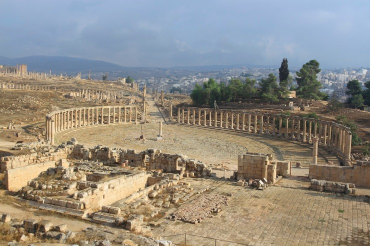 View over the Forum and Cardo Maximus, Jerash, Jordan