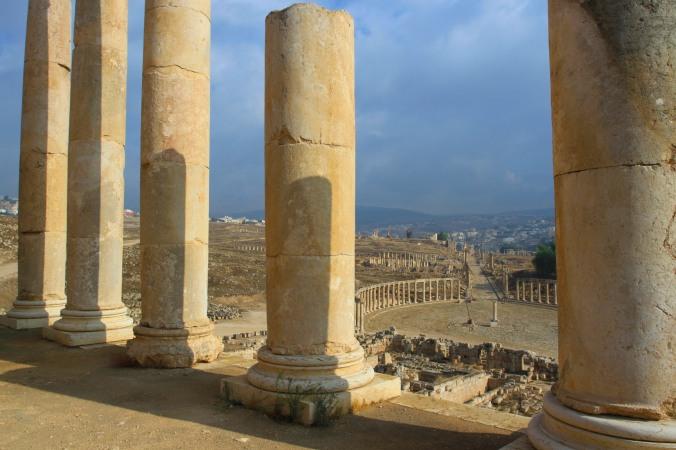 Forum and Cardo Maximus from Temple of Zeus, Jerash, Jordan