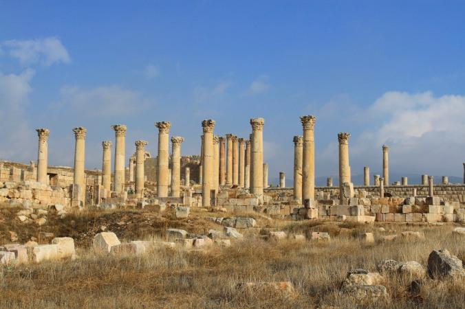 Columns and the Temple of Artemis, Jerash, Jordan