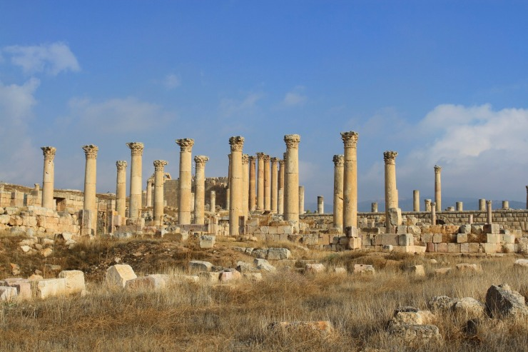 Columns and the Temple of Artemis, Jerash, Jordan