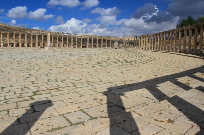 Forum surrounded by Ionic columns, Jerash, Jordan