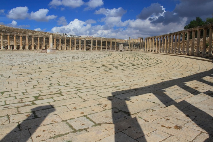 Forum surrounded by Ionic columns, Jerash, Jordan