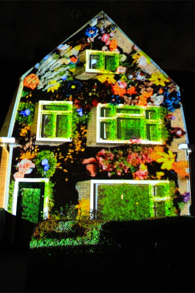 Projection on a house, GLOW Festival