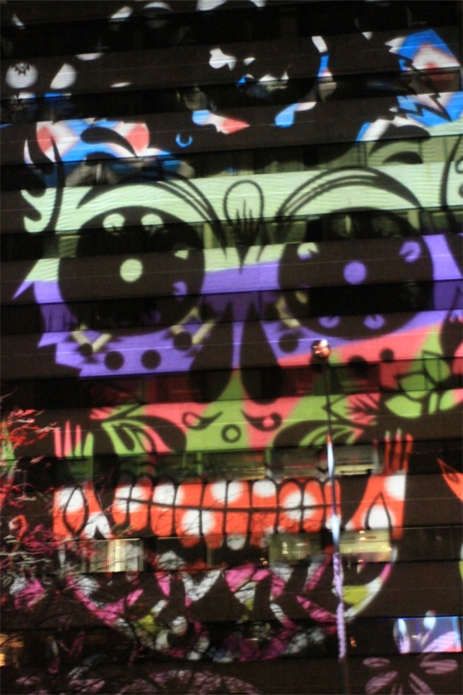 Day of the Dead projection, GLOW Festival