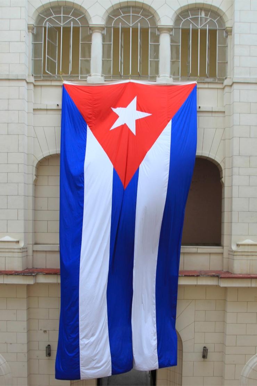 Cuban flag, Museo de la Revolucion, Havana, Cuba