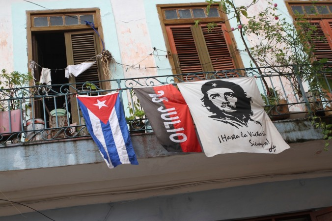 Revolutionary flags, Havana Vieja, Cuba
