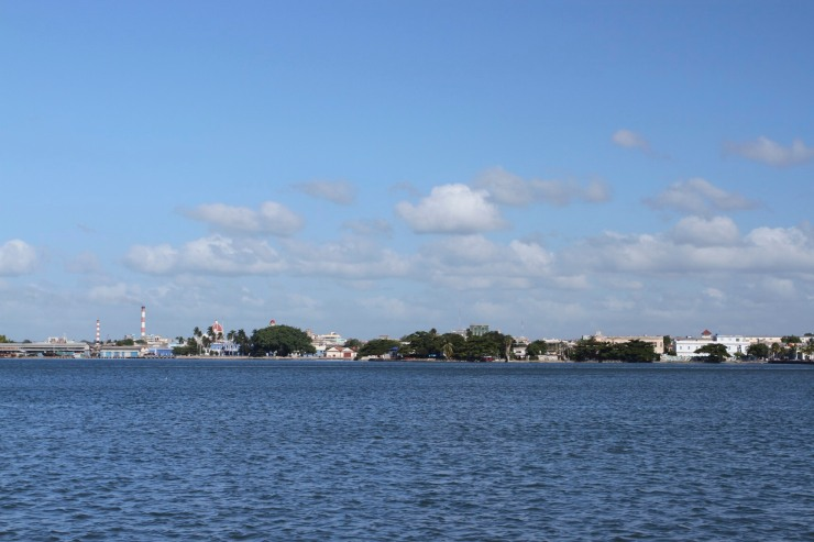 Views over the water to Cienfuegos, Cuba