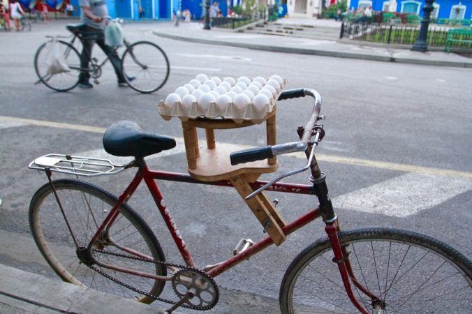 Egg carrying bike, Sancti Spiritus, Cuba