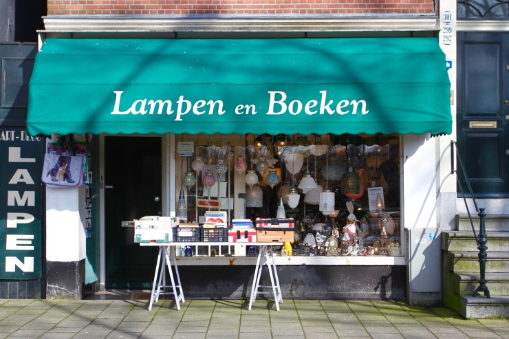 Lamps and books, Amsterdam, Netherlands