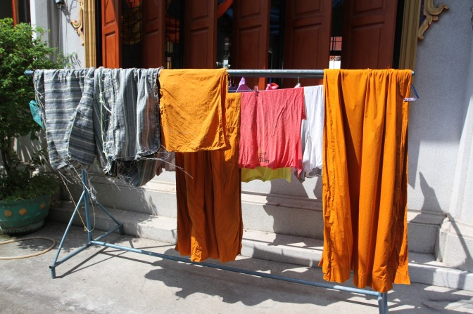 Monk robes, Buddhist temple, Bangkok, Thailand