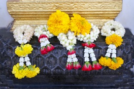 Floral offerings, Buddhist temple, Bangkok, Thailand