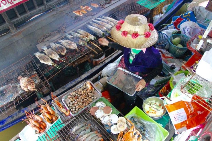 Floating food market, Bangkok, Thailand