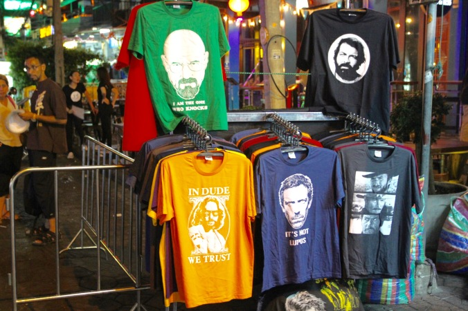 T-shirts for sale on the Khaosan Road, Bangkok, Thailand