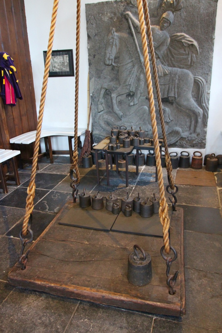 The scales at the Heksenwaag, the Witches Weighing House, Oudewater, Netherlands