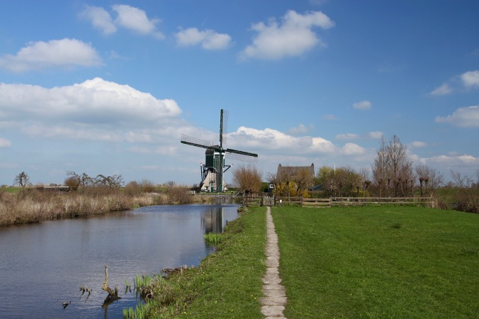Oukoopse Molen, cycling through the Dutch countryside near Oudewater, Netherlands