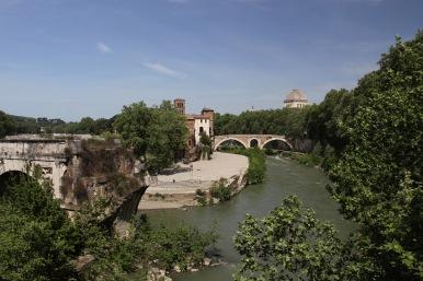 Isola Tiberina, with Ponte Rotto or Broken Bridge in foreground, Rome, Italy