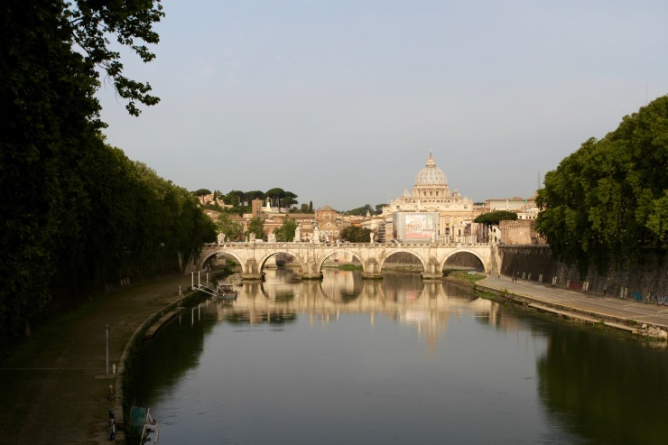River Tiber and St. Peter's Bascilica, Rome, Italy