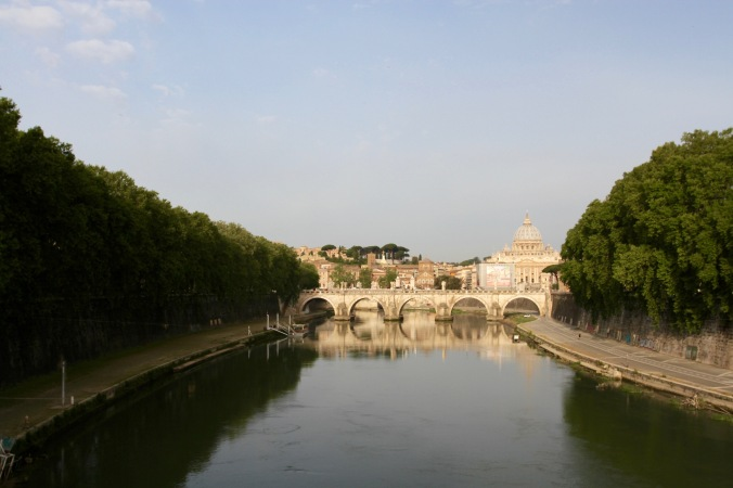 The Vatican City and St. Peter's seen from the River Tiber, Rome, Italy