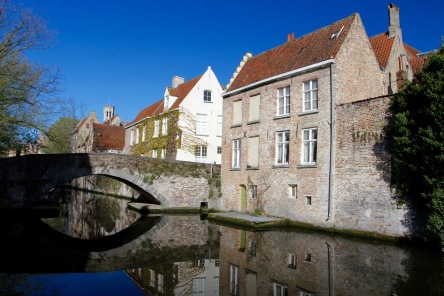 Medieval buildings and canals, Bruges, Belgium