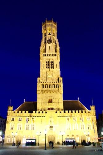 Belfort at night, Markt, Bruges, Belgium