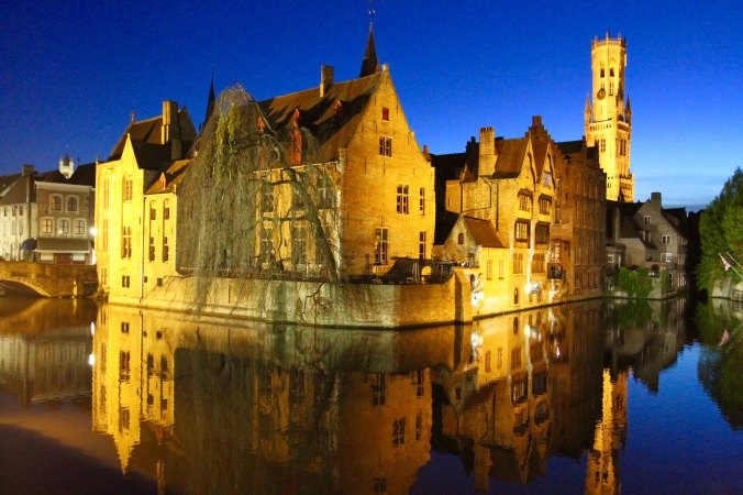 Canals and medieval buildings at night, Markt, Bruges, Belgium