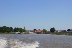 Leaving Gorichem by boat, Netherlands