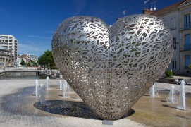 Heart-shaped sculpture, Troyes, Champagne, France