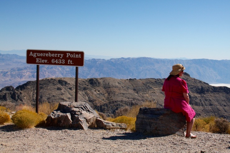 Human for scale, Aguereberry Point, Death Valley, California, United States