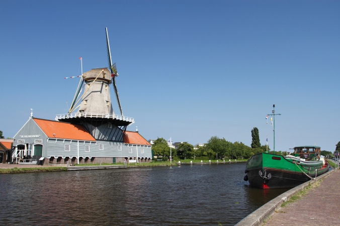 The Salamander windmill, Leidschendam, Vliet Canal, The Netherlands