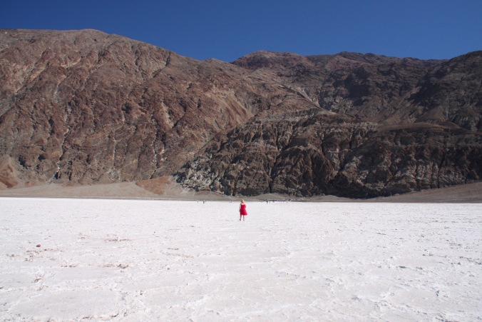 Human for scale, Badwater Basin, Death Valley, California, United States