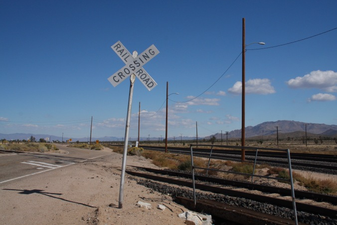Railroad crossing, Mojave National Preserve, California, United States