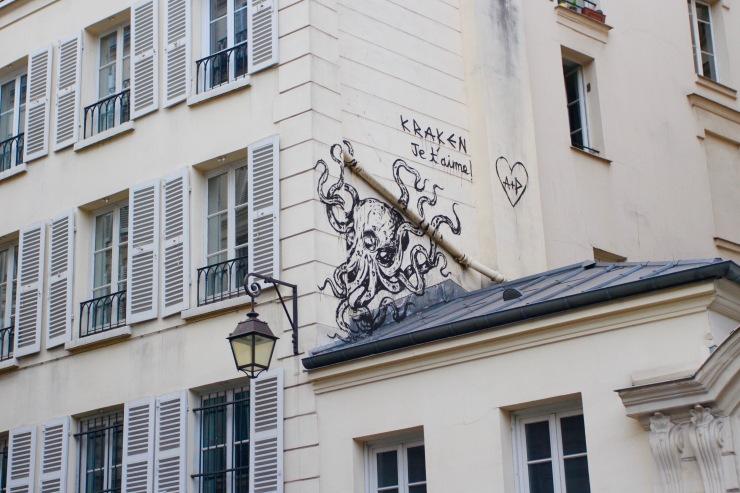Kraken - Je t'aime, Street Art, Paris, France