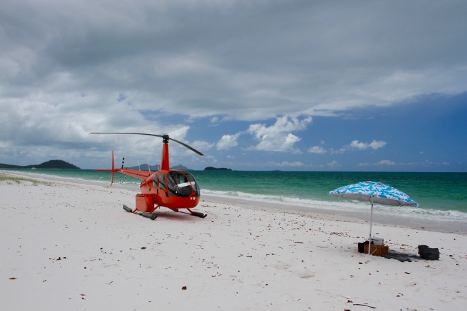 Helicopter, Whitehaven Beach, Whitsunday Island Queensland, Australia